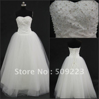 Other Reference Images Sweetheart Latest design strapless floor length tulle white satin applique and beading sweep train ball gowns grecian style wedding dresses