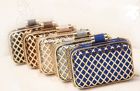 Wholesale Bling Bling Metal Diamond Plaid Evening Bags Wedding Banquet Women Handbag Day Clutch Fashion Designer Bag Mini Bridal Party Purse