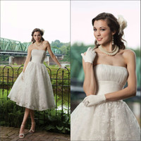 Other Reference Images Sweetheart Latest style sweetheart fold lace tea length satin A-line elaborate simple applique grecian style wedding dresses