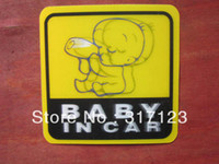 """Stickers Yes 0 cm Freeshipping (50PCS LOT) Wholesale New 3D """"BABY IN CAR"""" 10.5cm Funny Auto Decals Stickers bumper stickers"""