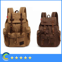 Men military backpack - Vintage Canvas Backpack Rucksack school bag Satchel Hiking bag B1039 Leather Hiking Travel Military Backpack Messenger Tote shoulder bag