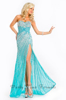 Reference Images Sweetheart Tulle Trumpet Mermaid Aqua Tulle Prom Dress Sweetheart Sleeveless Beading Side Slit Charming Sexy Prom Gowns 5656