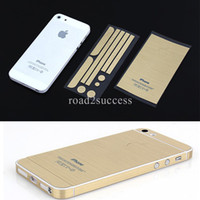 Wholesale Full Body Side Top Back Button Metal Decal Skin Protective Sticker for iPhone S Luxury Champagne Gold DHL