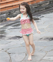 Girl Bikinis 2-7T new baby girls plaid swimwear children Bikini + pool swim ruffles skirt + lace hat cap 3pcs set kids swimsuit bathing suit outfits 2colors