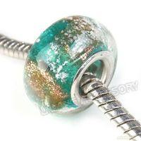 Wholesale Free Shipment Charms Big Hole Lampwork Lampwork Glass Beads Green Fit European Bracelet mm