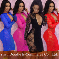 Wholesale 4 Colors New fashion Women Sexy lace bandage dresses lady evening party dress club wear Bodycon hollow out dress