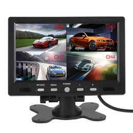 Promotion quad lcd 7 Affiche Inch 4 de Split Quad Vidéo + Automatic Identification Moniteur Entrée de signal TFT voiture écran LCD avec Stand-alone Têtière CMO_353