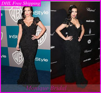 Wholesale Kim Kardashian Celebrity Dresses With V Neck Cap Sleeve Sheath Sweep Train Black Lace Evening Prom Party Gowns Of Golden Globes Awards