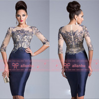 Wholesale 2014 Mother of the Bride Groom Dresses Janique Sheer Crew Neck Half Long Sleeves Sequins Purple Knee Length Evening Dresses CPS032