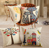 sofa cover - 2014 New Fashion Pillows American Village Flowers And Birds Pillow Cushion Sofa Cover FG02002