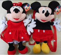 Wholesale Super cute plush mickey mouse minnie mouse backpack creative plush school bag birthday gift for children pc