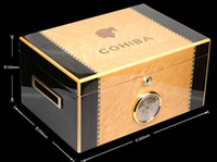 Wholesale Hot Sale COHIBA Wooden Yellow Piano Lacquer Finish Cigar Humidor Best Double deck Storage Box Holds Cigars
