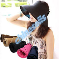 Wholesale new fashion lady hollow bow summer hats UV sun cap woman beach visor hat large brimmed straw hat foldable