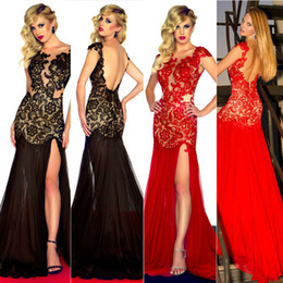 Wholesale 2015 Real Image Sexy Lace Evening Dresses Sheer SeeThrough Jewel Neck Side Slit Black Long Red Carpet Runway Formal Prom Party Gowns Cheap