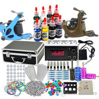 Wholesale USA Dispatch Professional complete Cheap Tattoo Kit Machine Guns Set Equipment Power Supply Inks Tools