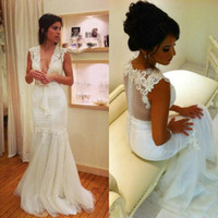 2015 New Collection Sexy V- Neck Wedding Dresses Lace Mermaid...