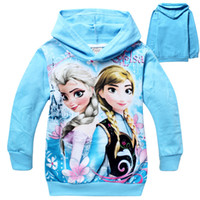 Unisex Spring / Autumn Hooded 3 Colors Frozen Baby Girls 2-8Yrs Elsa Anna Princess Olaf Hoodie Long Sleeve Terry Hooded Jumper Cartoon Hoodies Outerwear Kids Clothing