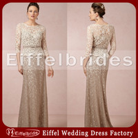 Crew Neck brown mother of the bride dresses - Elegant Mother of The Bride Lace Dresses Latest with Sexy Crew Neck and Embellished Long Sleeve Champagne and Brown Evening Dresses