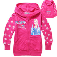 Wholesale 2 colors Frozen elsa Cotton Cloth Jacket pink children hoodies Y Y children terry hooded outerwear winter coats for children