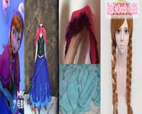 Mascot Costumes Animal Angel mascot Custom-made Movie Frozen Costume Princess Anna Dress With Hat Gloves And Wig