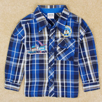 Wholesale Boys long sleeve plaid shirts nova children winter clothing embroidery cotton fabric blue baby check shirt t shirt in stock A5071