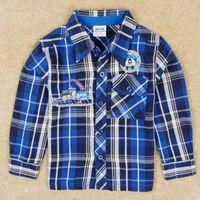 100% cotton shirt fabric - Boys long sleeve plaid shirts nova children winter clothing embroidery cotton fabric blue baby check shirt t shirt in stock A5071