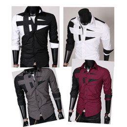 Wholesale Details about Special Mens Fashion Cotton Designer Cross Line Slim Fit Dress man Shirts