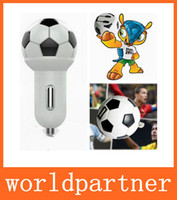 Wholesale 2 in Charger Kit Football Style A Wall Travel Charger A Mini USB Car Charger for Iphone S S Samsung Galaxy S4 S5 Note Xperia Z2 LG