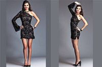 Reference Images One-Shoulder Lace Sexy Diva Fully Lace Cocktail Gowns One Shoulder with Boho-Chic Long Sleeve Sheath Side Zipper Short Evening Dresses Cheap
