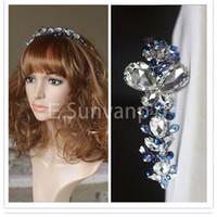 Rhinestone/Crystal diamond tiara - Blue Color Crystal with Rhinestones Hair Hoop All Match Hair Bands Headdress Diamond Tiaras Luxury Wedding Dress Accessories Bridal Gift