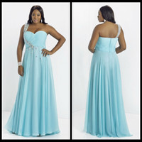 Cheap 2014 Chiffon Plus Size Prom Dress Crystals One-Shoulder Beading A-line Long Prom Dresses Aqua Blue Custom Made