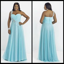 Wholesale 2014 Chiffon Plus Size Prom Dress Crystals One Shoulder Beading A line Long Prom Dresses Aqua Blue Custom Made