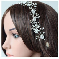 Wholesale Unique Hair Jewelry Pearl And Rhinestons Wedding Bridal Accessories All Match Hair Hoop Graceful Handmade Pearls Crystals Bridal Hair Bands