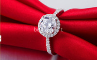 Wholesale Classic silver Platinum plated rings fashion Jewelry Beautiful Shiny wedding rings Diamond ring Austrian crystal
