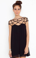 Wholesale New Europe And America Sexy Grid Cross Black Dress Hollow Out Chiffon Dress Women Plus Size