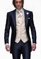 Wholesale Custom Made Slim Fit One Button Navy Blue Groom Tuxedos Peak Lapel Best Man Suit Groomsman Men Wedding Suits Jacket Pants Tie Vest