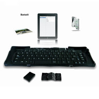Wholesale 2014 Unique Keyboard Geyes Bluetooth Mini TRIPLE Folding Wireless Keyboard for iPhone iPad Android Tablet Laptop Smartphones for Travel