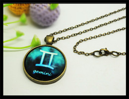 2014 new 12 constellation Zodiac sign Gemini Pendant necklace Creative gifts for lovers&Valentine fashion jewelry alloy chain 1pcs 1009