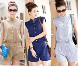 Wholesale Details about S XL NEW Women Button Down Sleeveless Jumpsuit Sexy Chiffon Rompers Short Pants