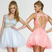 2015 New Collection V- Neck Homecoming Dresses Short Mini Cry...