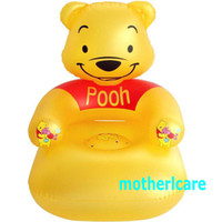 Wholesale ECO friendly AZO FREE HEALTHY PVC Bear Shape baby Inflatable Chair AIR Seat Yellow Lovely cartoon KIDS sofa