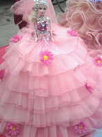 barbies dolls - Pink Tulle Barbie Girl Ball Gown Barbie Doll Wedding Dress Bridal Dress Kids Toy Barbie Dolls Wedding Barbie Doll For Sale Barbie Doll Toys