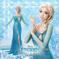 Mascot Costumes Animal Angel mascot Free Shipping Frozen Dress Custom-made Movie Costume Princess Elsa Dress from Frozen for Adult Women Support Custom
