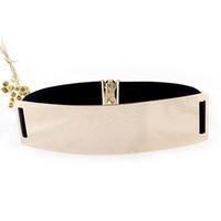 Belts elastic belt - Hot Europe and America style Elastic Mirror Metal Waist Belt Metallic Bling Gold Plated Wide OBI Band