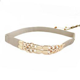 Wholesale New Beige Black Alloy Elastic Ribbon Alloy Gold Color Loop Anchor Chain Buckle Summer Cummerbunds Belts For Women