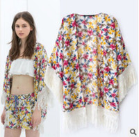 Wholesale Women Top Shirt Fashion Street Floral Printing Tassel Cardigan Women Ponchos New