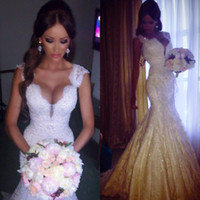 Wholesale 2014 Real Sample Custom Made Sexy With Cap Sleeves Lace Pearls Beads Mermaid Charming Wedding Dresses Bridal Gowns Satin EM02235