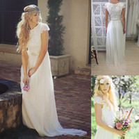Empire Reference Images High Collar 2014 Modest Bohemian Backless Boho Beach Bridal Dresses Long Short Sleeve Garden Wedding Gowns Cheap Romantic Ball Dress Sexy Summer Lace