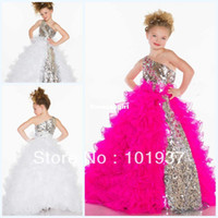 glitz pageant dresses - 2015 Fuchsia One Shoulder Ball Gown Cute Glitz Pageant Dress Tulle Layers Sequins Flower Girl Dress S