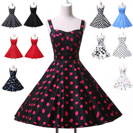 Wholesale Women Rockabilly Cotton Flower Pattern Polka Dots Cocktail Prom Dresses s s Size XS XL CL6093